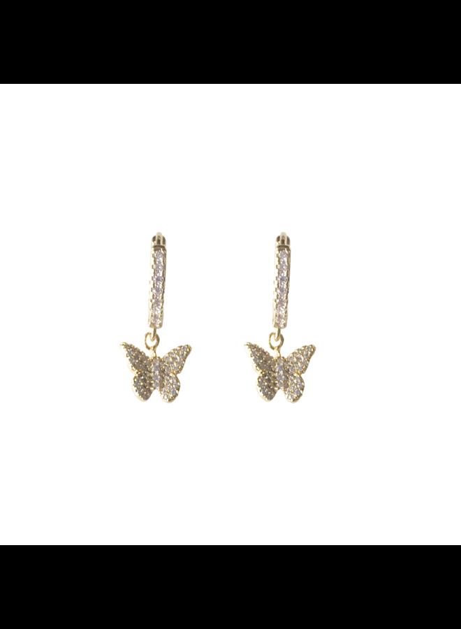 Butterfly Pave Huggie Earrings