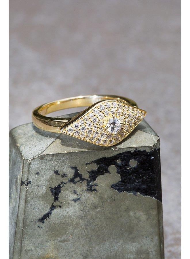 Evil Eye Ring in 14K Vermeil