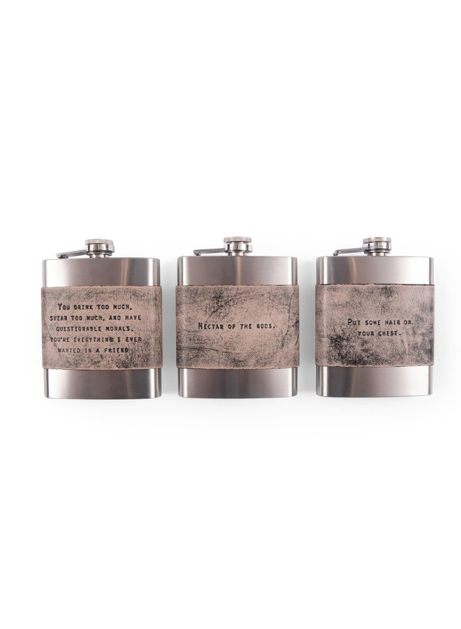 Leather Quote Flask