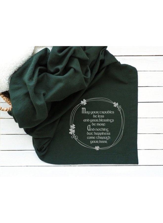 Irish Blessing Blanket - Forest Green