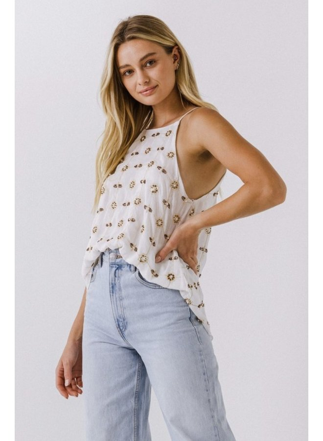 Beads Embroidered Halter Top