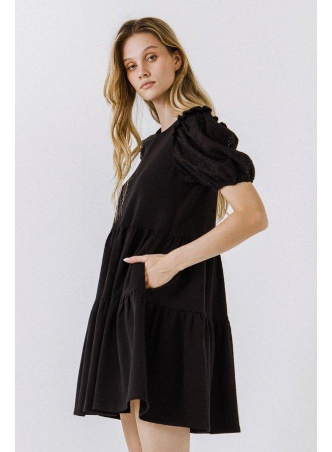 Eyelet Sleeve Tiered Dress