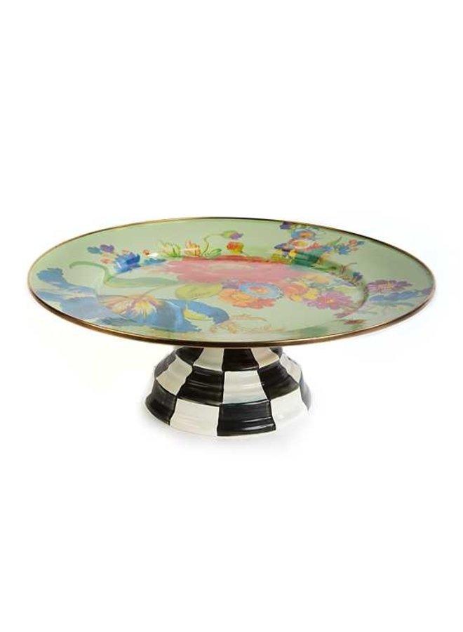 Flower Market Pedestal Platter - Green