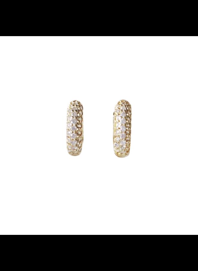 Clear Micro Pave Huggie Earrings