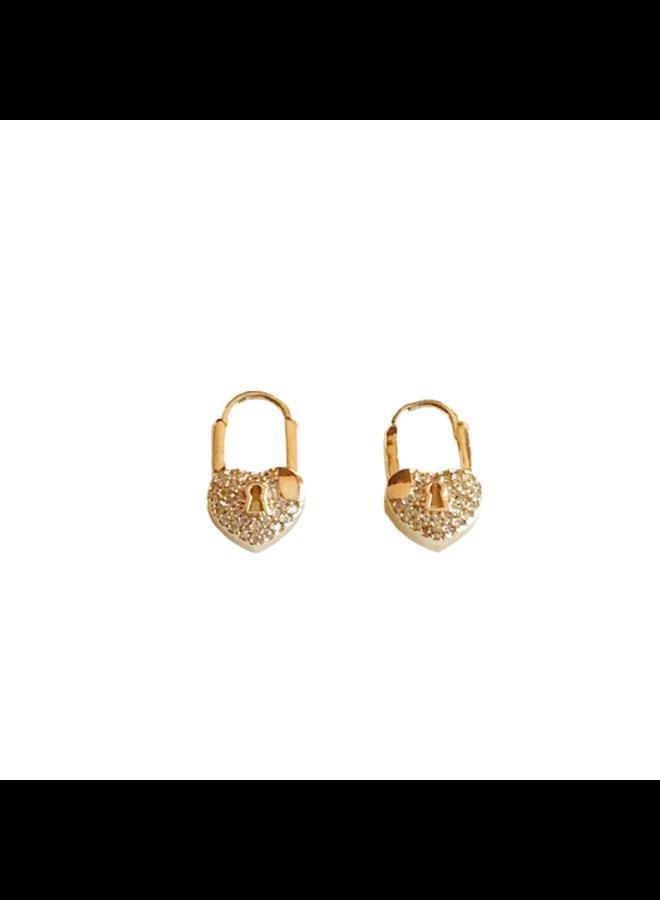 Heart Lock Huggie Earrings
