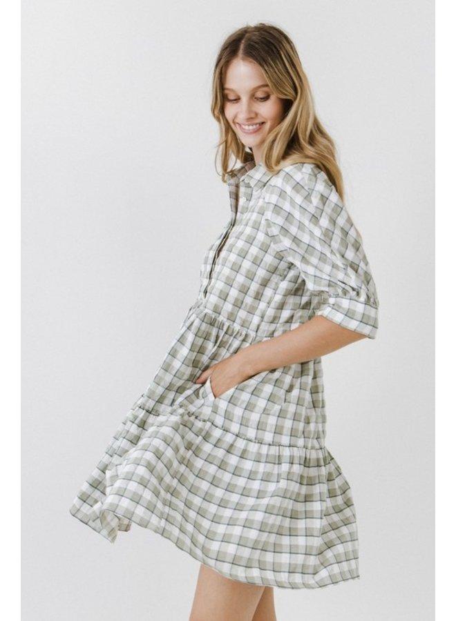 Green Plaid Gingham Dress