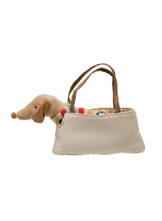 Cotton Dachshund in Carrying Case
