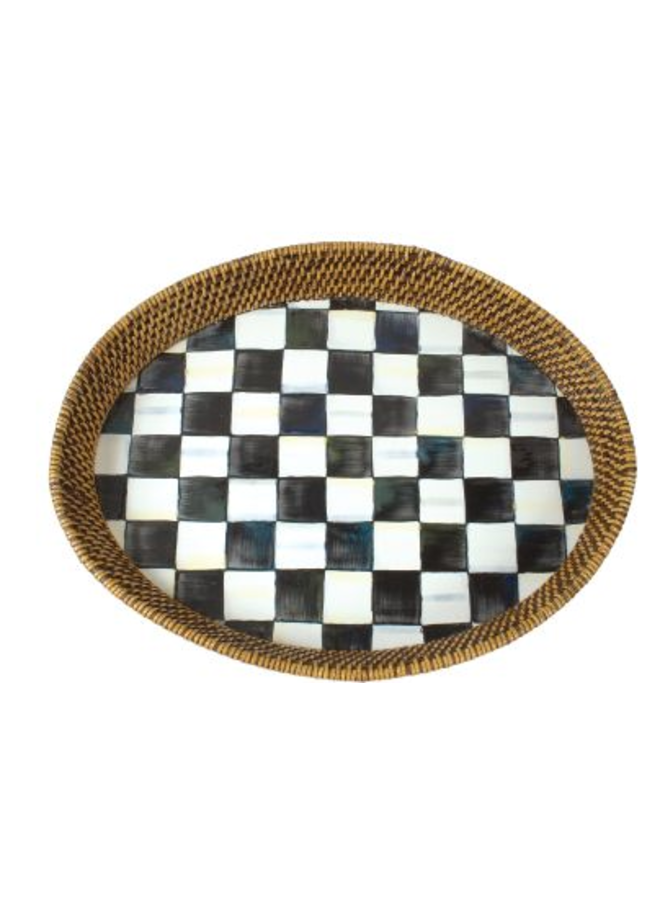 Courtly Check Rattan & Enamel Tray- Large