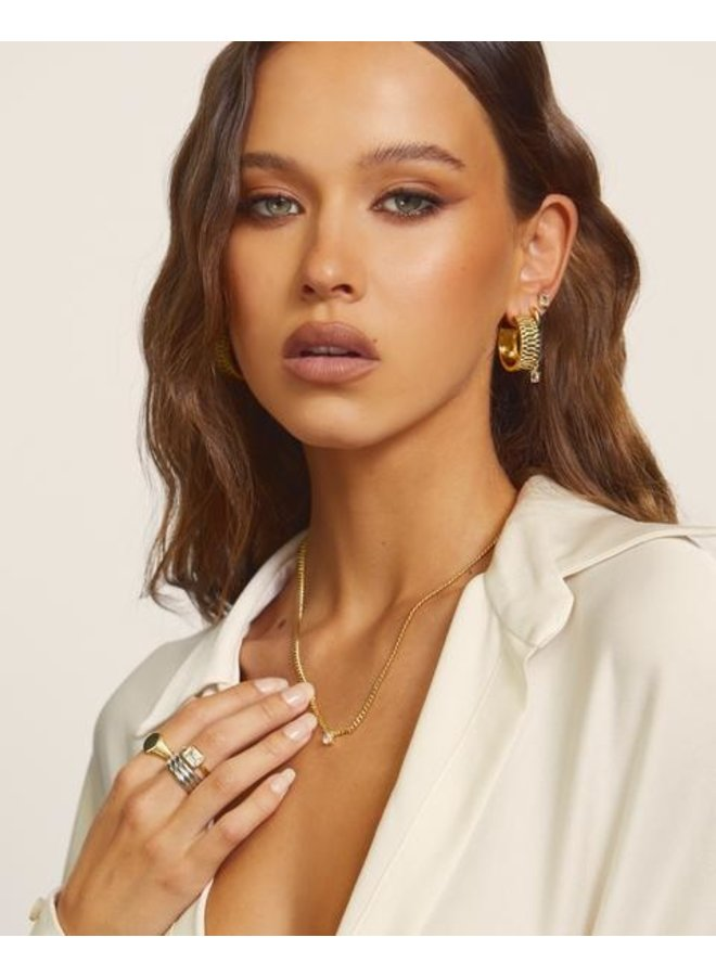 Bardot Stud Charm Necklace- Gold