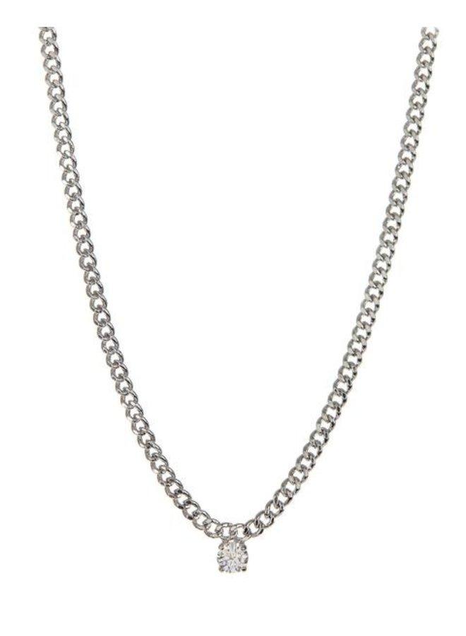 Bardot Stud Charm Necklace- Silver