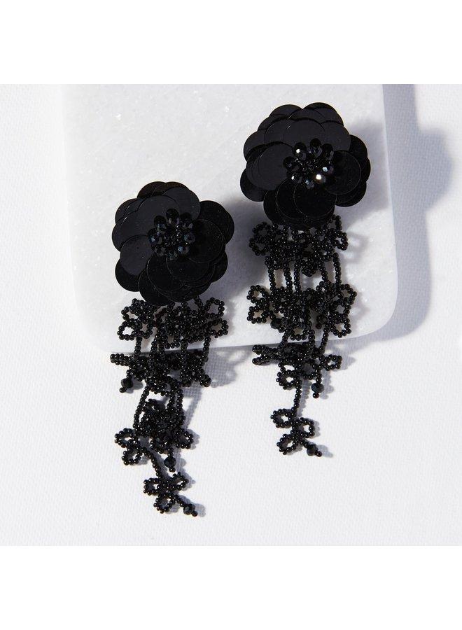 Black Tendril  Flower Post Earring