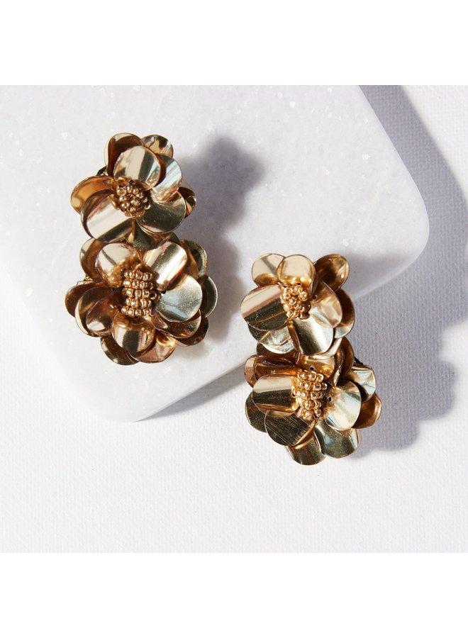 Gold Double Flower Post Earring