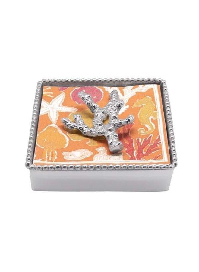 Coral Beaded Napkin Box