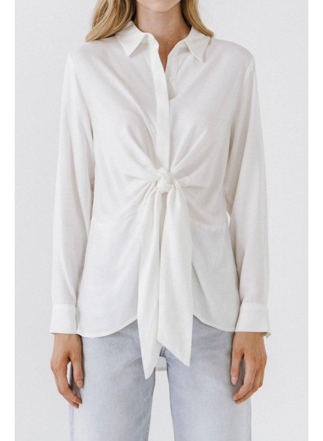 Front Tie Oversized Collard Top