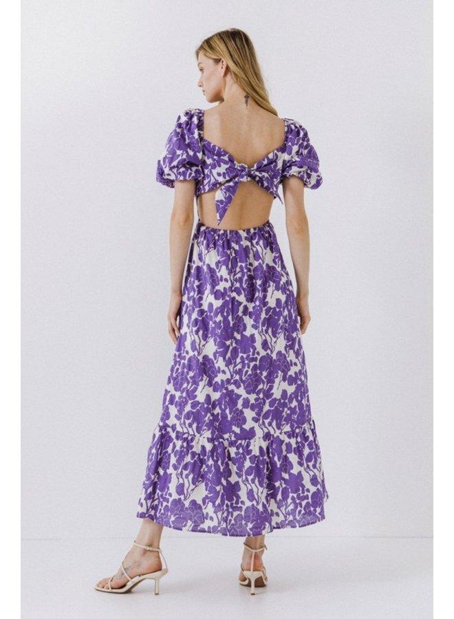 Floral Print Purple Maxi Dress