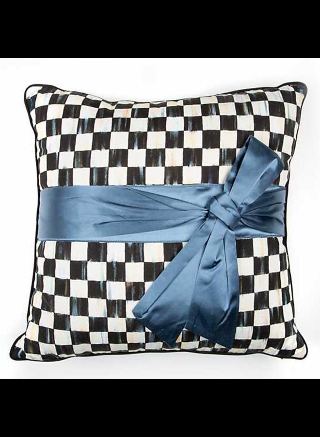 Courtly Check Sash Pillow - Teal