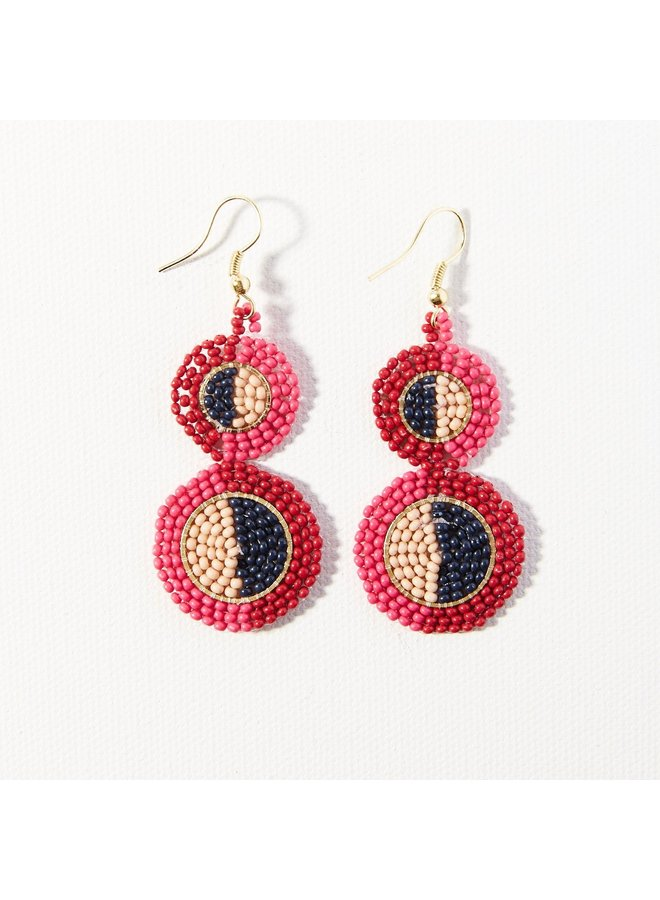 Hot Pink Red Double Disc Earring