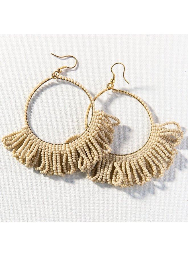 Ivory Fringe Hoop Seed Bead Earring