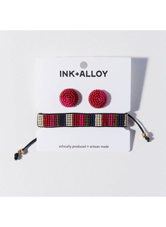 Hot Pink Confetti Earring Bracelet Set