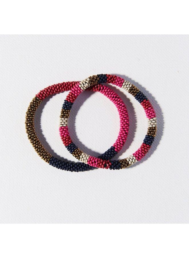 Hot Pink Navy Set of 2 Bracelets