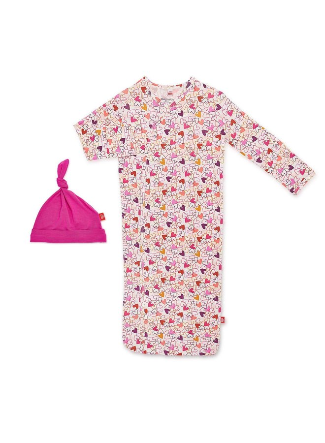 Heart to Heart Sack Gown & Hat Set NB-3M