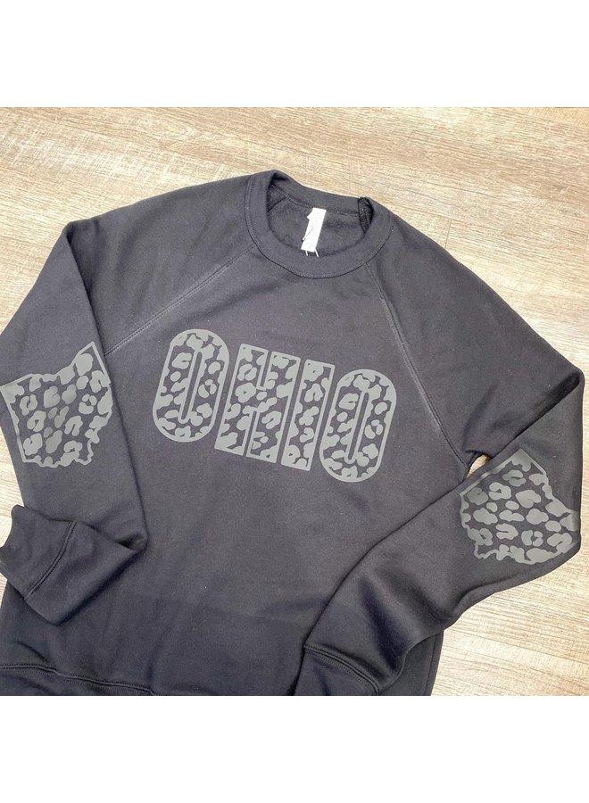 OHIO Black on Black Leopard Sweatshirt
