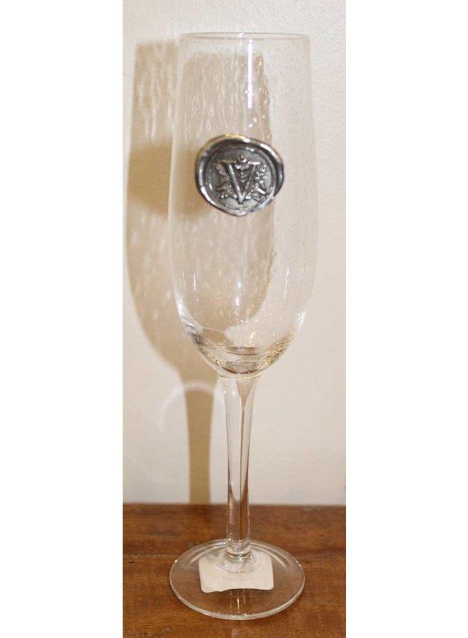 Champagne Flute- Initial V