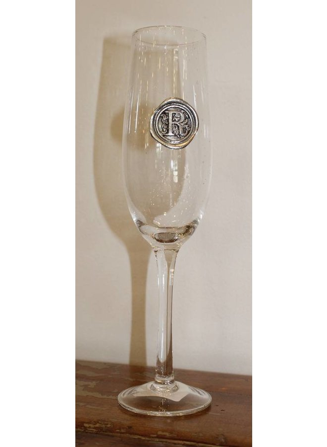 Champagne Flute- Initial R