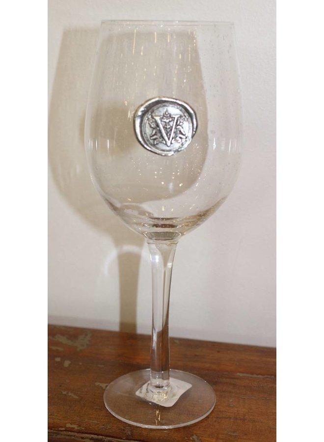 Stem Wine Glass-Initial V
