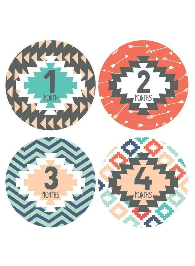 Tribal Print Monthly Stickers