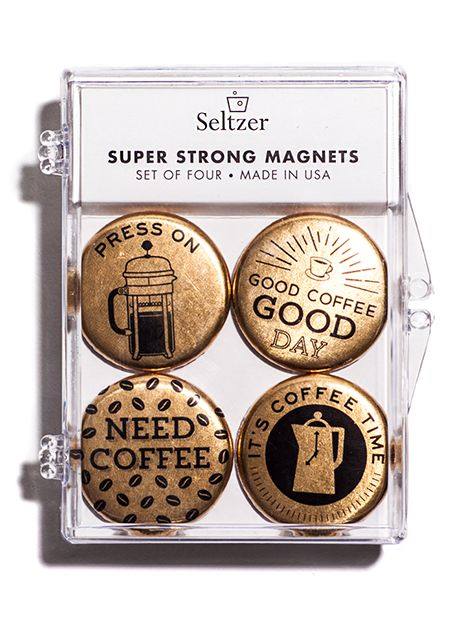 Seltzer Coffee Gold Magnet Set