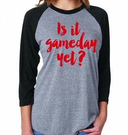 OCJ Apparel Gameday Raglan Baseball Tee Grey w/ Red Writing