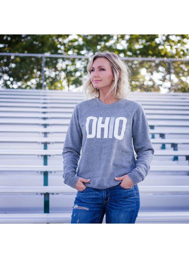 OHIO Patch-Sleeve Crew Neck Sweatshirt