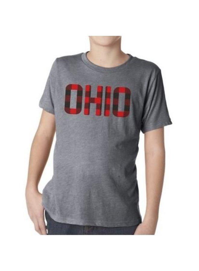 Ohio Plaid Kids Tee