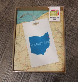 Rock Scissor Paper Teal State of Ohio Luggage Tag