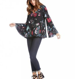 Fifteen Twenty Criss Cross Flare Sleeve Top-Floral
