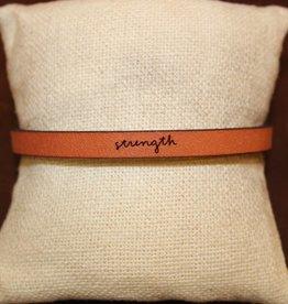 """Laurel Denise Brown """"Strength"""" Leather Bracelet"""