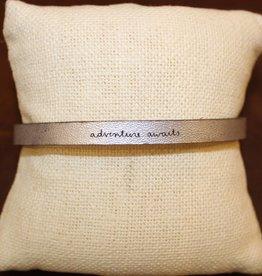 "Laurel Denise Silver ""Adventure Awaits"" Leather Bracelet"