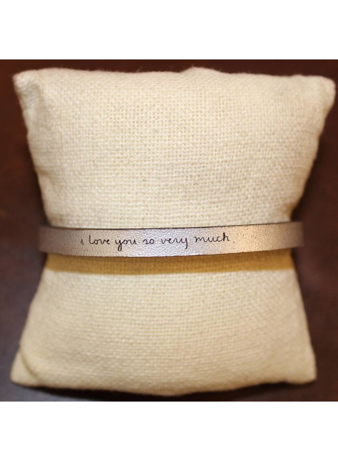 """Silver """"I Love You So Very Much"""" Leather Bracelet"""