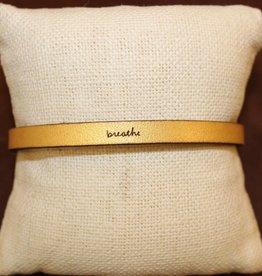 """Laurel Denise Gold """"Breathe"""" Leather Bracelet"""