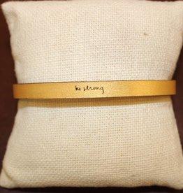 """Laurel Denise Gold """" Be Strong"""" Leather Bracelet"""