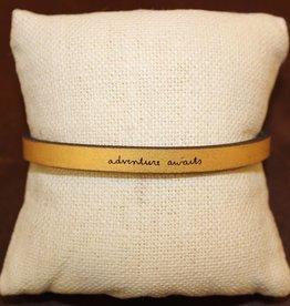 "Laurel Denise Gold ""Adventure Awaits"" Leather Bracelet"