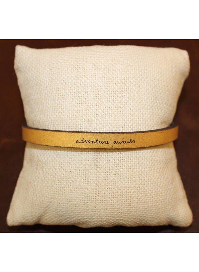 "Gold ""Adventure Awaits"" Leather Bracelet"