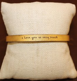 """Laurel Denise Gold """"I Love You So Very Much"""" Leather Bracelet"""
