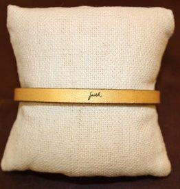 "Laurel Denise Gold ""Faith"" Leather Bracelet"