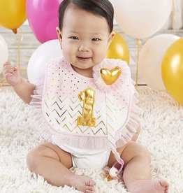baby ASPEN My First Birthday Pink and Gold Pacifer Clip and Bib Set