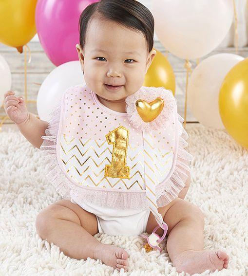 My First Birthday Pink And Gold Pacifer Clip Bib Set