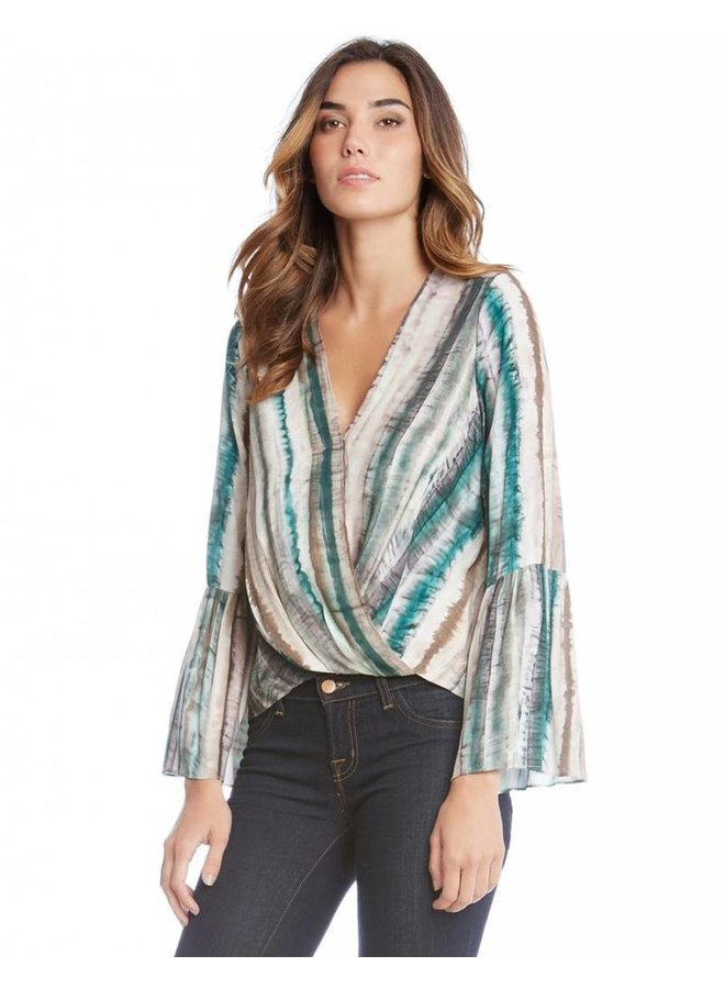 Wrap Front Bell Sleeve Top