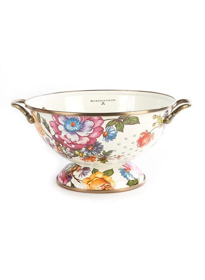 Flower Market Large Colander - White