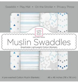 Swaddle Designs Muslin Swaddle Blankets-Set of 4-Starshine Blue Shimmer